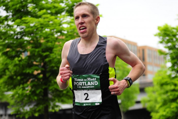 Ryan Bak running in the Portland Rock'n'Roll Half Marathon