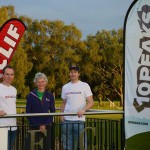 Nicky Spinks with the Race Directors at the Clif Bar 10 Peaks 2014
